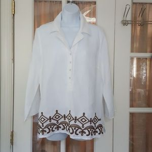 Tweeds White Linen Embroidered Button Up Blouse